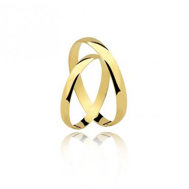 Par Aliança Ouro 18K Amarelo 2,5MM AL-DA25 1