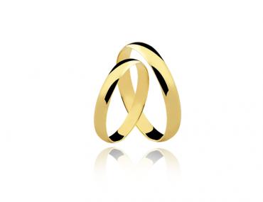Par Aliança ouro 18K Amarelo 3MM AL-DA30