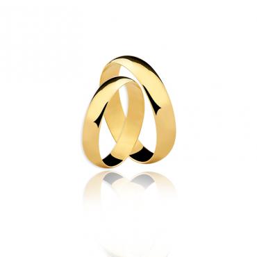 Par Aliança ouro 18K Amarelo 4MM AL-DA40