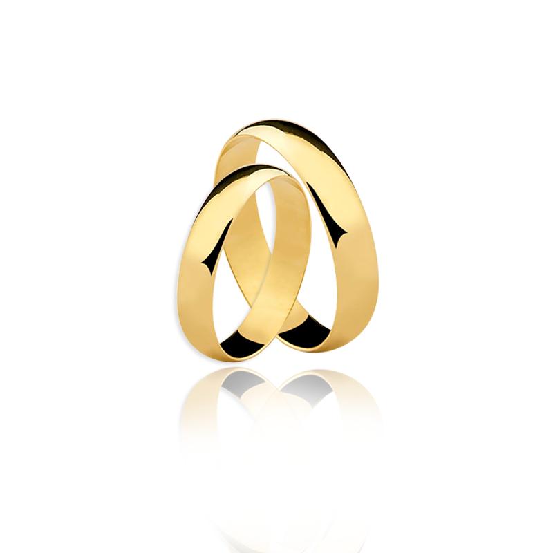 Par Aliança ouro 18K Amarelo 4MM AL-DA40 - Ellos JoalheriaEllos ... 1c06d86431