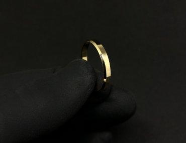 Par Aliança ouro 18K 3MM Quadrada Chanfrada