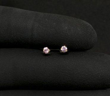 Brinco Ouro 18K Infantil Pedra Redonda Rosa