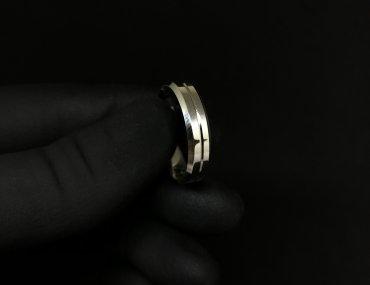 Par Aliança Prata Quadrada Friso 4mm