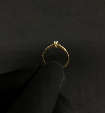 Anel Meia Aliança Ouro 18K Zircônia 55