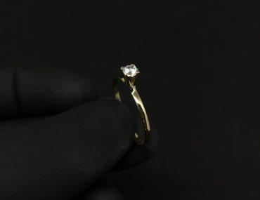 Anel Solitário Ouro 18K