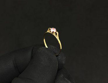 Anel Infantil Ouro 18K Pedra Rosa