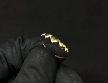 Anel Ouro 18K 5 Corações